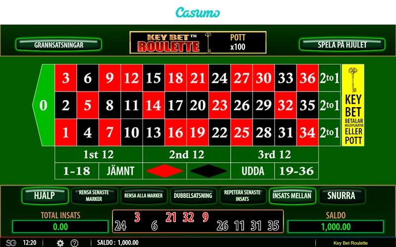 Roulette på nett hos Casumo